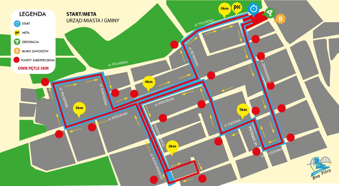 Mapa - Bieg Pilicy